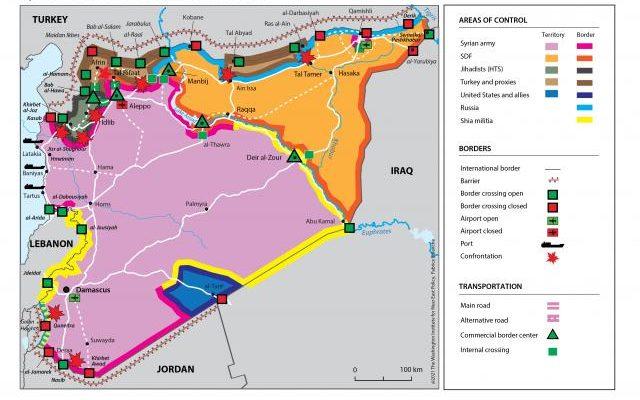Carte de la Syrie en février 2021